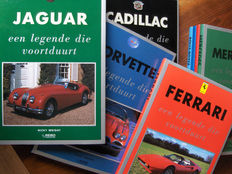 Series 'De Legende die Voortduurt' books, about Cadillac, Corvette, Jaguar, Ferrari, Mercedes, and Rolls Royce, including 'Het Grote Lamborghini fotoboek'