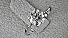 1.02ct round diamond ring made of 14 kt white gold *** no reserve price ***