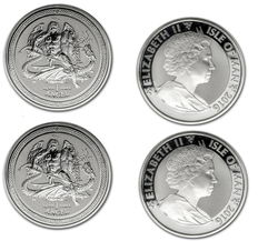 Great Britain - 2 x 1 oz Isle of Man 2016 - Archangel/dragon slayer - reserve proof 999 fine silver