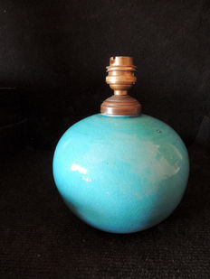 Edmond Lachenal - round lamp base - crackled blue earthenware
