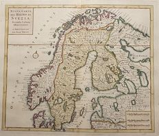 Sweden; Tirion / Albrizzi – New map of the Kingdom of Sweden in accordance with the latest observations – 1740
