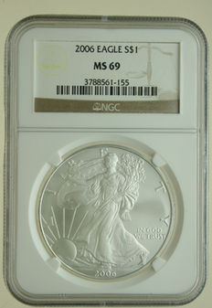 United States – Dollar 2006 'Silver Eagle' 1 oz silver in Slab