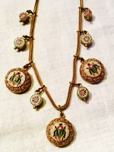 Very rare Egyptian revival scarab beetle italian signed micro mosaic necklace