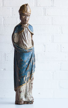 Large polychrome oak holy figure - 16th/17th century