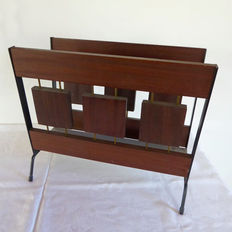 Designer unknown - mid-century modern lecture holder, wood with metal accents