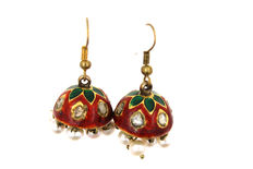 Antique enamelled earrings with old cut diamond-ruby-pearls from around 1890