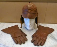 Leather biker cap and leather gloves