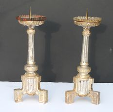 Two wooden candlesticks - France - ca 1800