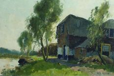 K. v/d Meer (early 20th century) – Farm with chickens