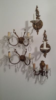Lot of 5 great important sconces in solid brass with crystal pendants
