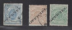 Luxembourg 1875/1878 - Official stamps - Michel 6I, 10I en 12I