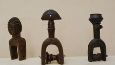 Lot with 3 ancient wooden loom pulleys - BAULE - Ivory Coast