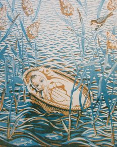 Engelien Reitsma Valenca - Moses in the ark - screen printing - the Netherlands - 1960