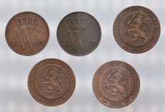 The Netherlands - 1 and 2 1/2 cents 1863/1883 (5 coins) Willem III