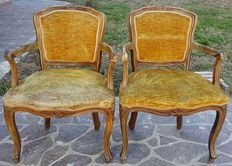 A pair of Louis XV style armchairs, in solid beechwood - Venetian region, Italy - mid 20th C