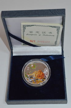 China – medal 2004 'Monkey' with coloured image – silver