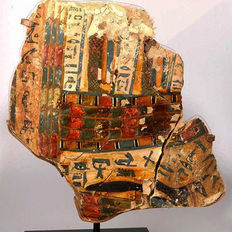 An Egyptian Cartonnage Inner Sarcophagus Fragment, - 26.5 cm