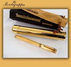 "Montegrappa ""Reminiscence Privilege Gold"" Greek Key Etched, Octagonal ""Vermeil"" Ballpoint Pen  