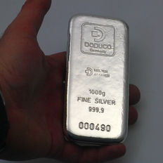 Germany - DOCUCO 1 kg - 1000 grams 999.9 silver bullion - with certificate - cast / unique