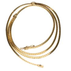 Yellow gold double row link necklace in 14 kt - 42 cm