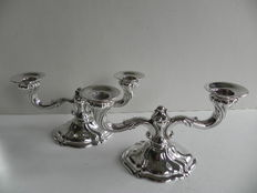 Set of silver candle stands in Baroque style, Germany