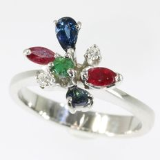 Joyfull Vintage Seventies ring with diamonds and other precious stones - AS NEW - circa 1970
