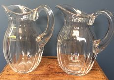 A pair of hand blown carafes in Baccarat Harcourt style