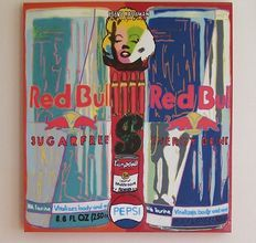 Steve Kaufman - Double red bull collage