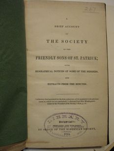 Samuel Hood - A Brief Account of the Society of the Friendly Sons of St. Patrick; with Biographical Notices of some of the Members, and Extracts from the Minutes - 1844