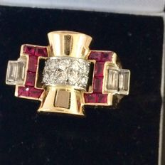 Tank ring made of gold with diamonds and rubies