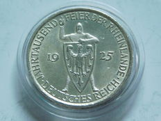 Weimar Republic - 5 Reichsmark 1925 A 1000 years of Rhineland as part of Germany - silver