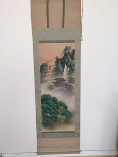 Scroll painting of many crans  - Japan - early 20th century