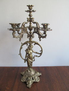 Large brass candlestick with female figure for five candles, Mid 20th century, Belgium