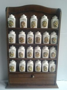 Spice rack with 23 hand made porcelain spice jars