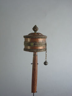 Prayer wheel with prayer roll – Tibet – China – late 20th century
