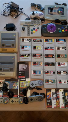 2 x SNES incl. 20 games (mariokart) and control systems