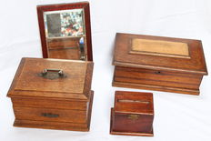 Lot of 4 antique wooden pieces