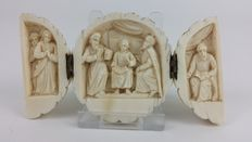 A carved ivory triptych - with religious scenes - late 19th century