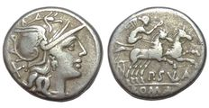 Roman Republic - P. Cornelius Sulla - AR Denarius (18 mm; 3,70 g.), c. 151 BC - Rome mint - Head/Victory in biga - Cr. 205/1