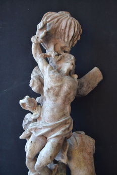 Large sculpture of Stº Sebastian - barroque style, carved wood , sculptor Feitor - 20th century