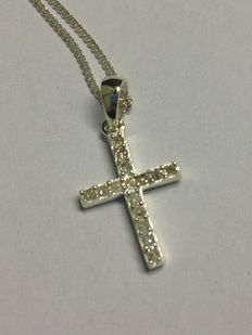 Sterling Silver Diamond Mini Cross Pendant 0.10 ct