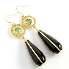 Estate 14kt Yellow Gold  Earrings with Onyx, Citrine and Peridot