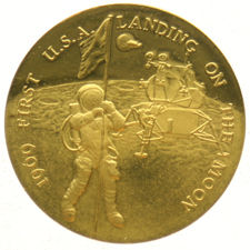 """United States - Penning """"Usa First Landing On The Moon"""" - goud"""