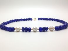 Carved sapphires and saltwater cultured pearl necklace with 14K gold beads and clasp - no reserve price