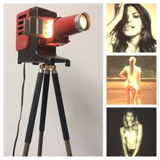 Leitz Prado 150 slide projector on an old, GDR or East Germany tripod complemented with 4 stylish slides