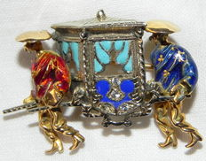 Unique 750 gold enamel brooch - palanquin carrier figurines - China - approx. 1950