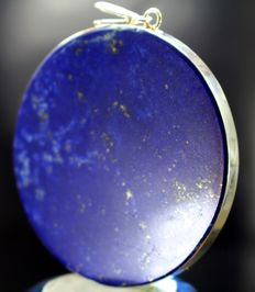 Large, finest quality Royal Blue Lapis Lazuli with Sterling Silver Pendant - 60mm