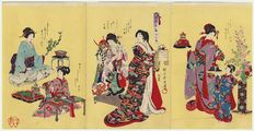 """Large original triptych woodcut by Toyohara Chikanobu (1838 - 1912), with the title """"Pictures of Old Customs"""": Five Festivals"""" –  1888"""