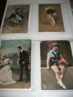 Album with approx. 210 Nostalgic cards, many of male-female-child but also others, such as flowers and boats from 1900 onward