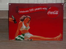 Emaille  reclamebord van Coca Cola -  Celebrate 125 years With Coca Cola